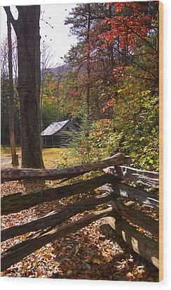 Wood Print featuring the photograph Smoky Mountain Log Cabin by Bob Decker