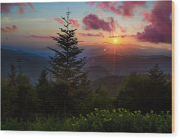 Smoky Mountain Sunset Wood Print by Christopher Mobley