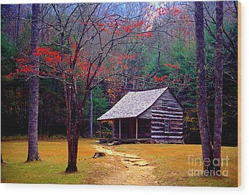 Smoky Mtn. Cabin Wood Print by Paul W Faust -  Impressions of Light