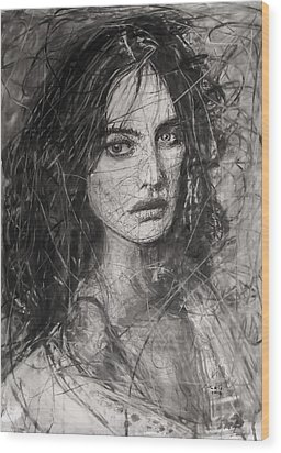 Wood Print featuring the painting Smoky Noir... Ode To Paolo Roversi And Natalia Vodianova  by Jarko Aka Lui Grande