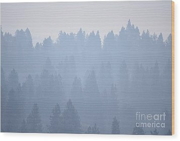 Smoky Pines Wood Print