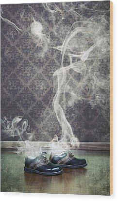 Smoky Shoes Wood Print by Joana Kruse