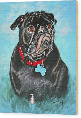 Smug Black Pug Wood Print