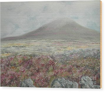 Wood Print featuring the painting Snaefell Heather by Stanza Widen