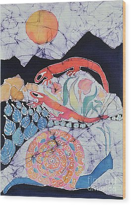 Snail With Red Efts Wood Print by Carol  Law Conklin