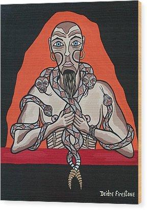 Snake Man's Twisted Desires Wood Print by Deidre Firestone
