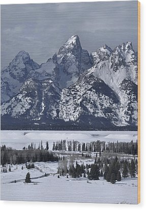 Snake River Overlook In Winter Wood Print by Stephen  Vecchiotti