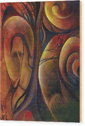 Wood Print featuring the painting Snakes And Snails by Andrew King