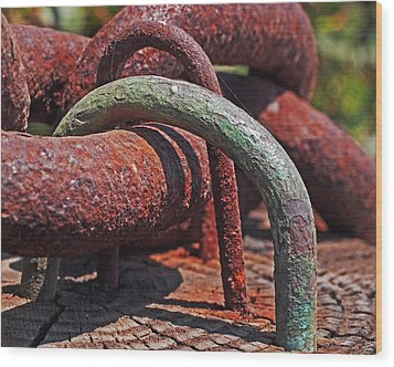 Snaking Rust  Wood Print by Rona Black