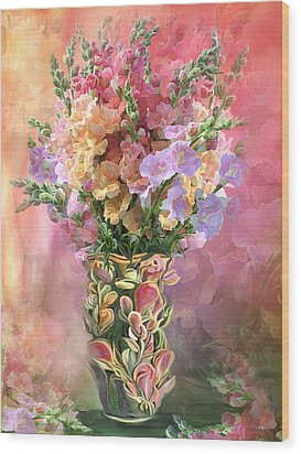 Wood Print featuring the mixed media Snapdragons In Snapdragon Vase by Carol Cavalaris