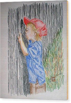 Sneak Peek Wood Print by Arlene  Wright-Correll