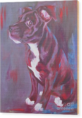 Sneaky Look - Staffy Wood Print
