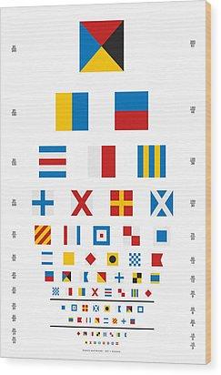 Snellen Chart - Nautical Flags Wood Print by Martin Krzywinski