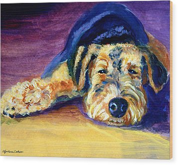 Snooze Airedale Terrier Wood Print by Lyn Cook
