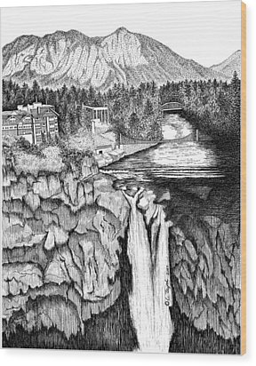 Snoqualmie Falls Wood Print by Lawrence Tripoli