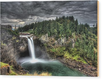 Snoqualmie Falls Storm Wood Print by Shawn Everhart