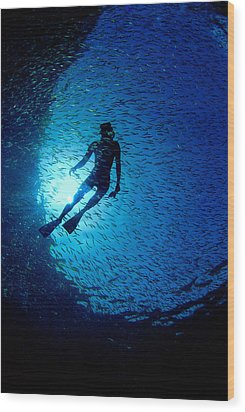 Snorkeler Wood Print