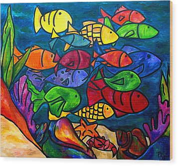 Snorkeling Off Norman Island Wood Print by Patti Schermerhorn
