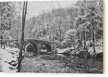 Snow Along The Wissahickon Creek Wood Print by Bill Cannon
