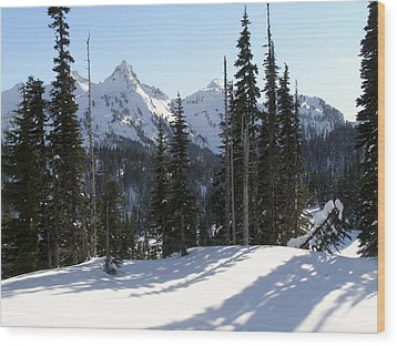 Snow And Shadows On The Mountain Wood Print