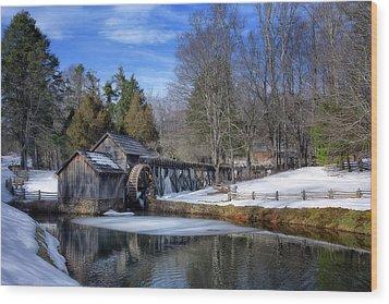 Snow At Mabry Mill Wood Print