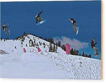 Snow Boarder Wood Print