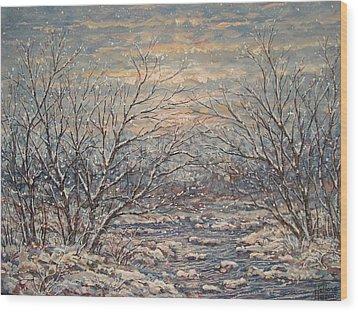 Snow By Brook. Wood Print