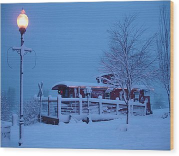 Snow Caboose Wood Print by Matthew Adair