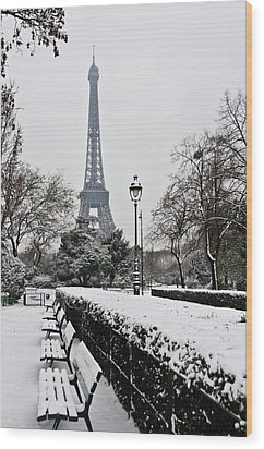 Snow Carpets Benches And Eiffel Tower Wood Print