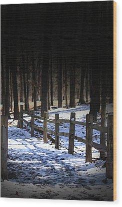 Snow Covered Bridge Wood Print by Kim Henderson