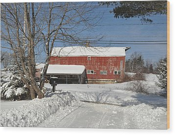 Wood Print featuring the photograph Snow Covered Masachussetts Barn by John Black