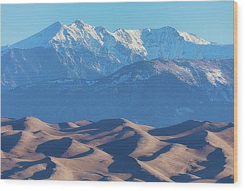 Snow Covered Rocky Mountain Peaks With Sand Dunes Wood Print by James BO Insogna