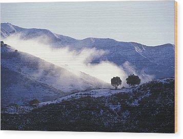 Snow Covered Santa Ynez Mountains Wood Print by Rich Reid