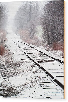 Snow Covered Wisconsin Railroad Tracks Wood Print