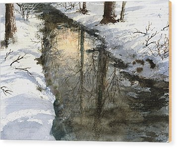 Wood Print featuring the painting Snow Creek by Andrew King