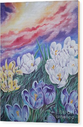 Wood Print featuring the painting Snow Crocus by Sigrid Tune