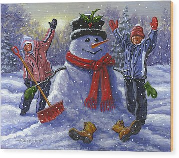 Snow Day Wood Print by Richard De Wolfe