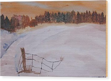 Wood Print featuring the painting Snow Drifts by Trilby Cole