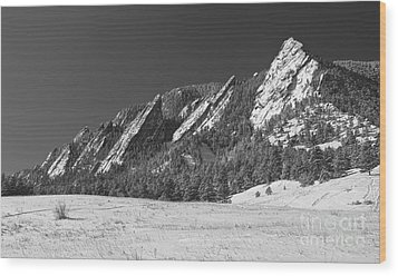 Snow Dusted Flatirons Boulder Co Panorama Bw Wood Print by James BO  Insogna