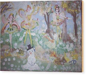 Snow Fairies Wood Print by Judith Desrosiers