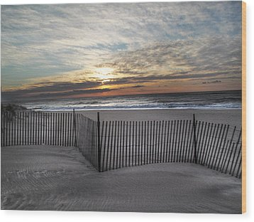 Snow Fence At Coopers Beach Wood Print by Steve Gravano