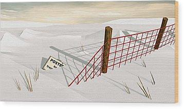 Snow Fence Wood Print