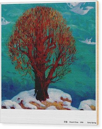 Snow Flame Wood Print by Xichang Sun