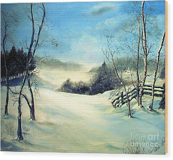 Snow Flurries Wood Print