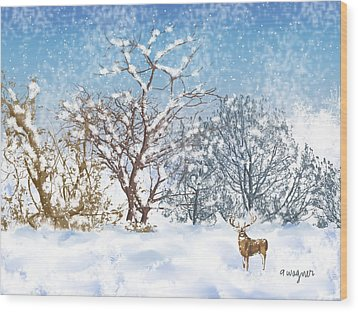 Snow Flurry Wood Print by Arline Wagner