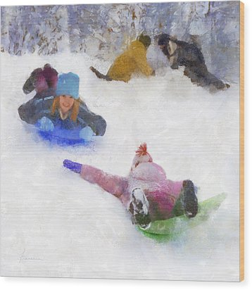 Wood Print featuring the digital art Snow Fun by Francesa Miller