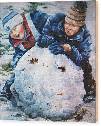 Snow Fun Wood Print by Hanne Lore Koehler