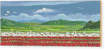 Snow Geese And Tulips Wood Print by Bob Patterson