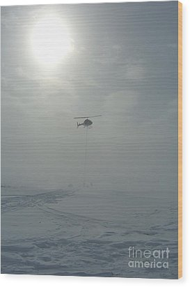 Snow Heli -25deg Wood Print by Jim Thomson