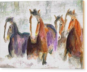 Snow Horses Wood Print by Frances Marino